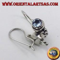 Ohrringe aus Silber mit Blautopas facettiert Runde