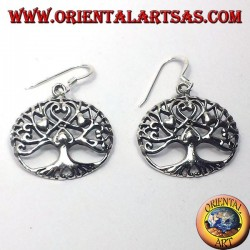 silver earrings, Tree of life with hearts