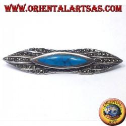 серебряная брошь с бирюзой и марказита