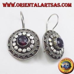 silver earrings with garnet, shield