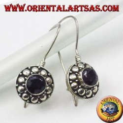 silver earrings with round garnet