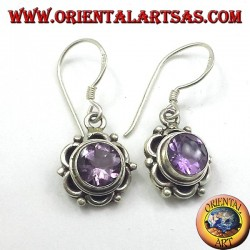 Silver earrings with round faceted Amethyst