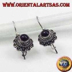 серебряные серьги, цветок Onyx