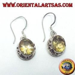 Silver earrings with oval faceted Topaz Nepal