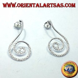 silver earrings, spiral