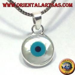 серебряный кулон, греческий глаз сторонний с перламутром