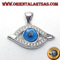 silver pendant, eye Allah with zircons