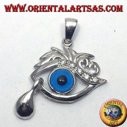 silver pendant with cubic zirconia, eye Allah with tear