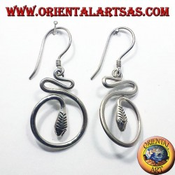 silver earrings, snake