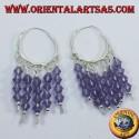 silver hoop earrings with amethysts
