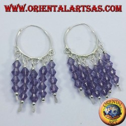 silver hoop earrings with Swarovski crystals of amethyst