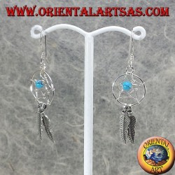 silver earrings small dream catcher with ball in turquoise