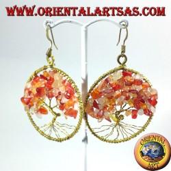 orecchini albero della vita con corniola in ottone dorato