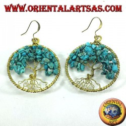 Golden brass earrings, tree of life with Turquoise