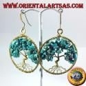 orecchini in ottone dorato,albero della vita con Turchese