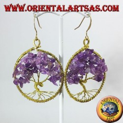 Golden brass earrings, tree of life with Amethysts