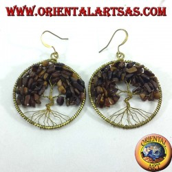 Golden brass earrings, tree of life with tiger eye
