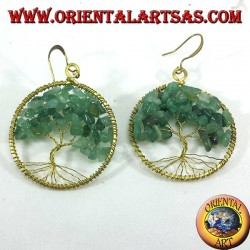 Golden brass earrings, tree of life with Aventurine