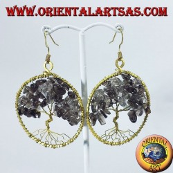 Golden brass earrings, Tree of Life with smoky topaz