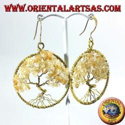 Золотые серьги латунь, дерево жизни с цитрином