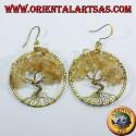 orecchini in ottone dorato,albero della vita con Quarzo citrino