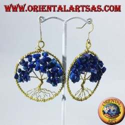 Golden brass earrings, tree of life with lapis lazuli