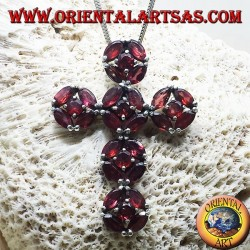 silver pendant, cross with garnets