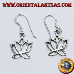 silver earrings, lotus flower
