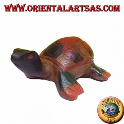 Caretta sea turtle in hand painted teak wood (14 cm)