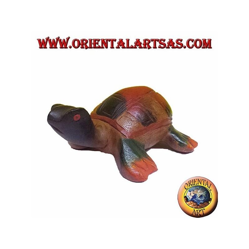 Tortuga de mar en madera de teca de color - Oriental Art sas BARI