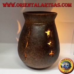 Burning terracotta essences perforated stars and moons