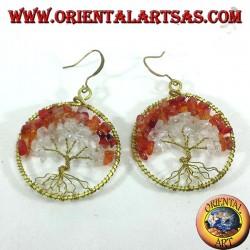 orecchini albero della vita con corniola e cristallo di rocca  in ottone dorato