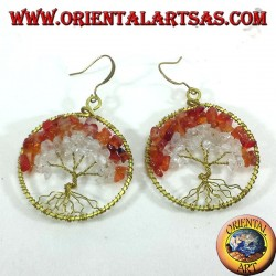 Tree of life earrings with carnelian and rock crystal in golden brass