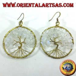 earrings tree of life with rainbow moonstone golden brass