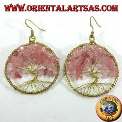 orecchini albero della vita con quarzo rosa in ottone dorato