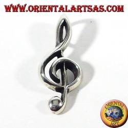 treble clef pendant silver