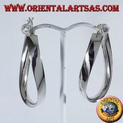 orecchini d'argento , ovale a fascetta ondulato