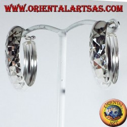 Wide circle silver earrings with 25 mm diamond cut.