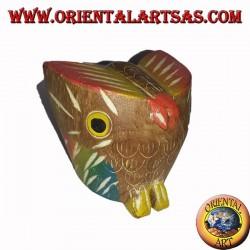 gufo piccolo il legno di teak colorata