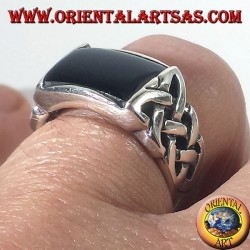 silver ring with onyx and Celtic knot pierced