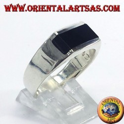 silver ring engraved lines, with Onyx rectangular