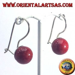Silver earrings with coral sphere