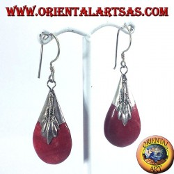 Silver earrings with coral drop