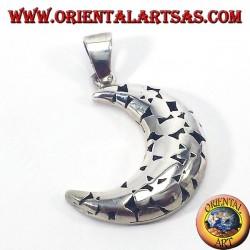 Silver pendant, pierced moon
