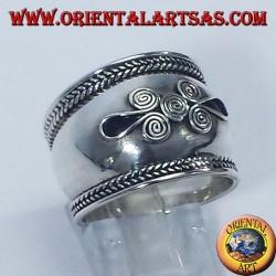 Ring breites Band in Bali Silber Spirale