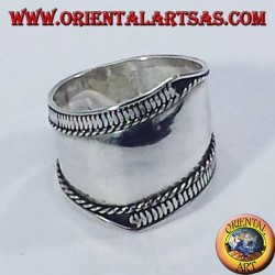 Silver wide band ring, Bali with asymmetrical lines