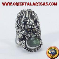 Anello d'argento drago Nepalese con labradorite