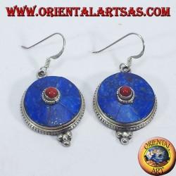 Orecchini Nepalese in argento con Lapis e corallo
