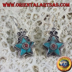 Nepalese silver earrings with turquoise star and round coral