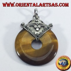 Silver pendant with tiger's eye Donut
